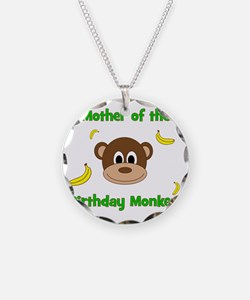 Mother of the Birthday Monke Necklace Circle Charm