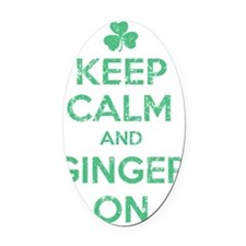 Keep Calm and Ginger On Irish Oval Car Magnet