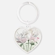 Beautiful Peony Painting Heart Keychain