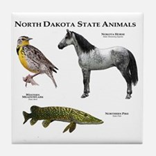 North Dakota State Animals Tile Coaster