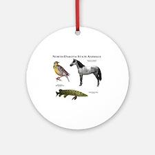 North Dakota State Animals Round Ornament