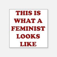 """feministLooksLike1C Square Sticker 3"""" x 3"""""""