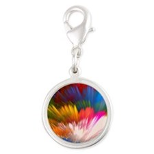 Abstract Clouds Silver Round Charm