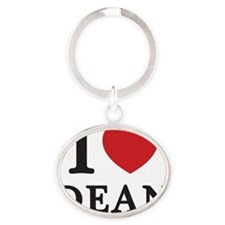 I Love Dean (Red Heart) Oval Keychain