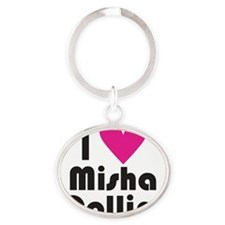 I Love Misha Collins (Pink Heart) Oval Keychain
