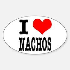 I Heart (Love) Nachos Oval Decal