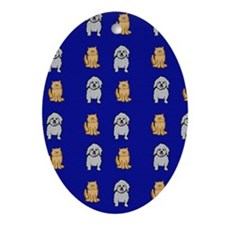 Cute Cats and Dogs Oval Ornament