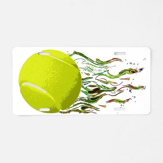 Tennis Ball Flames Artistic Aluminum License Plate