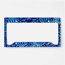 Floral fabric design BLUE License Plate Holder