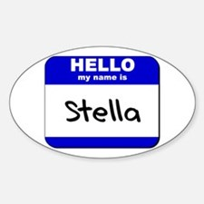 hello my name is stella Oval Decal