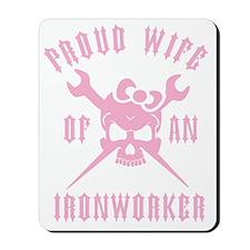 IRONWORKER WIFE LOGO pink Mousepad