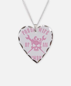 IRONWORKER WIFE LOGO pink Necklace