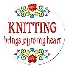 Knitting Joy Round Car Magnet