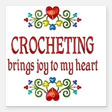 "Crocheting Joy Square Car Magnet 3"" x 3"""