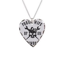 IRONWORKER WIFE LOGO BLACK Necklace Heart Charm