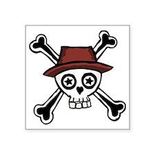 """Cool Dude Skull Head Square Sticker 3"""" x 3"""""""