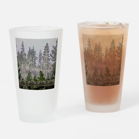 Sunrise forest bull elk Drinking Glass