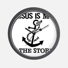 Jesus is my Anchor Black JailBird Jenna Wall Clock