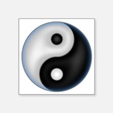 "YinYang Blue Square Sticker 3"" x 3"""