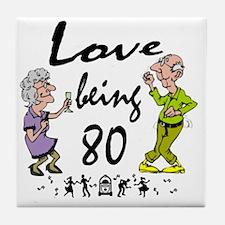 Love 80 Couple Tile Coaster