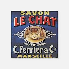 """Vintage Cat Savon Le Chat Square Sticker 3"""" x 3"""""""