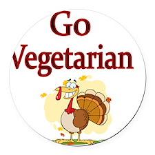 Go Vegetarian Round Car Magnet