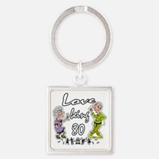 Love 80 Couple BL Square Keychain