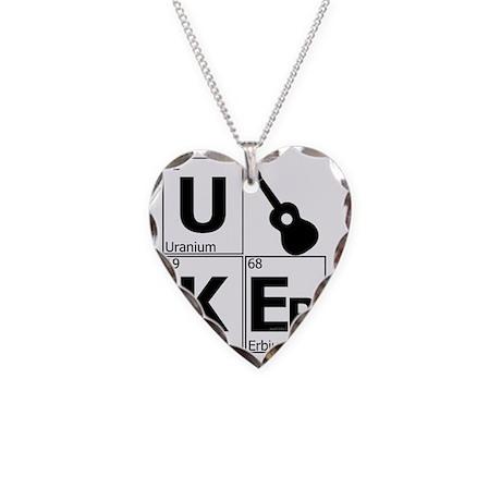 uker elements block white Necklace Heart Charm
