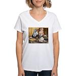 Domestic Flight Pigeons Women's V-Neck T-Shirt