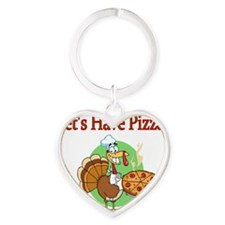 Lets Have Pizza Heart Keychain