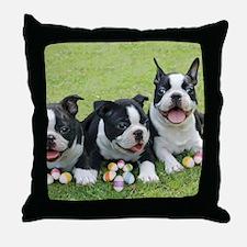 Easter boston terriers Throw Pillow