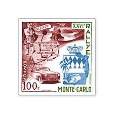"Vintage 1956 Monaco Rally C Square Sticker 3"" x 3"""