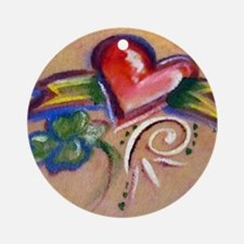 Heart Banner Round Ornament