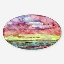 Sunset Watercolor, Lands End Oval Decal