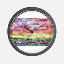 Sunset Watercolor, Lands End  Wall Clock