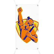 Coal Miner With Pick Ax Pump Fist Retro Banner