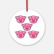 Cute Pink Piggies Round Ornament