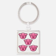 Cute Pink Piggies Square Keychain