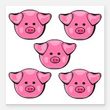 """Cute Pink Piggies Square Car Magnet 3"""" x 3"""""""