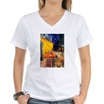 Cafe - Airedale (S) Women's V-Neck T-Shirt