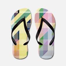 Colorful Retro Stripes Collage Flip Flops