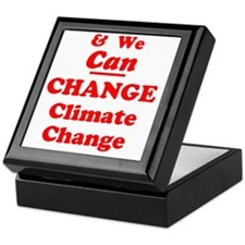 red and we can change climate change Keepsake Box