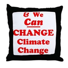 red and we can change climate change Throw Pillow