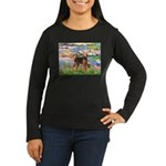 Lilies#2 - Airedale #6 Women's Long Sleeve Dark T-