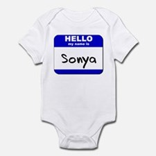 hello my name is sonya  Infant Bodysuit