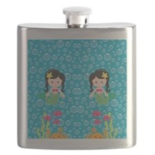Mermaids with Black Hair Flask