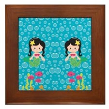 Mermaids with Black Hair Framed Tile