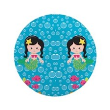 "Mermaids with Black Hair 3.5"" Button"