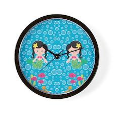 Mermaids with Black Hair Wall Clock