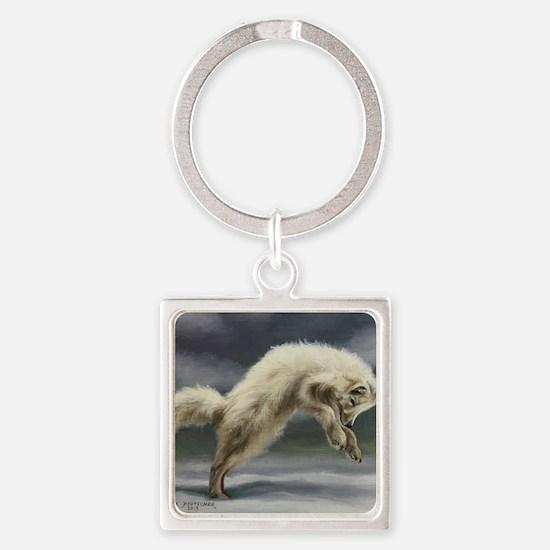 Arctic Fox Square Keychain